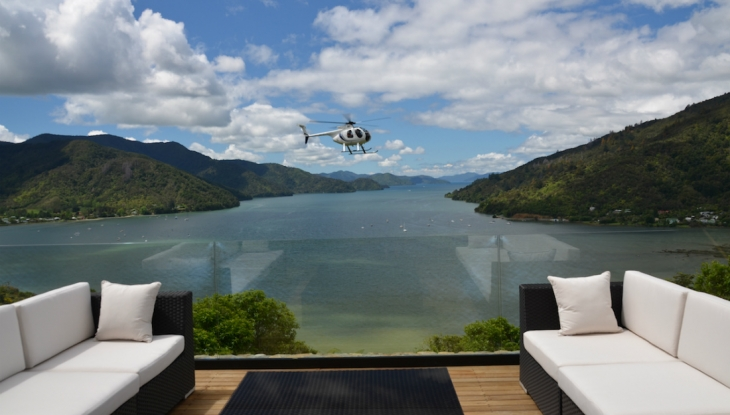 The Sounds Retreat, Marlborough, helicopter