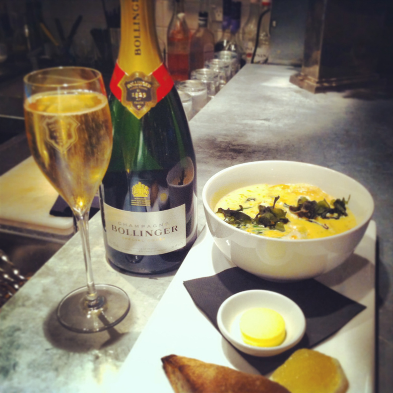 Eichardts Seafood Chowder and Champagne Bollinger