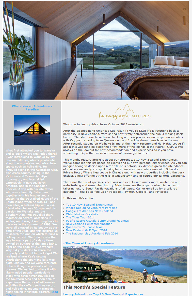 Luxury Adventures October 2013 newsletter
