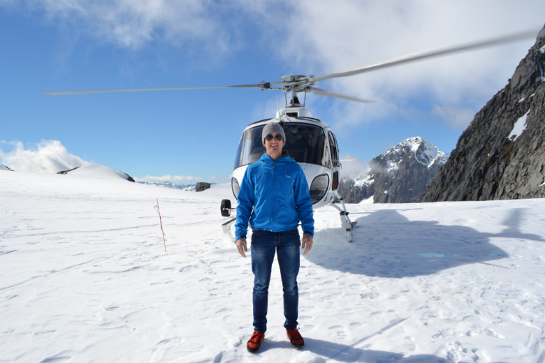 Helicopter Glacier Landing at Mt Tutoko on route to Milford Sound