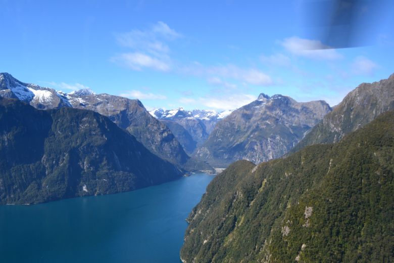 Entrance to Milford Sound from helicopter