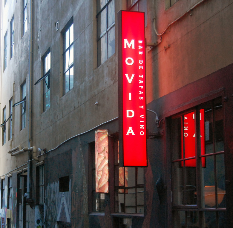Movida Restaurant sign, Melbourne