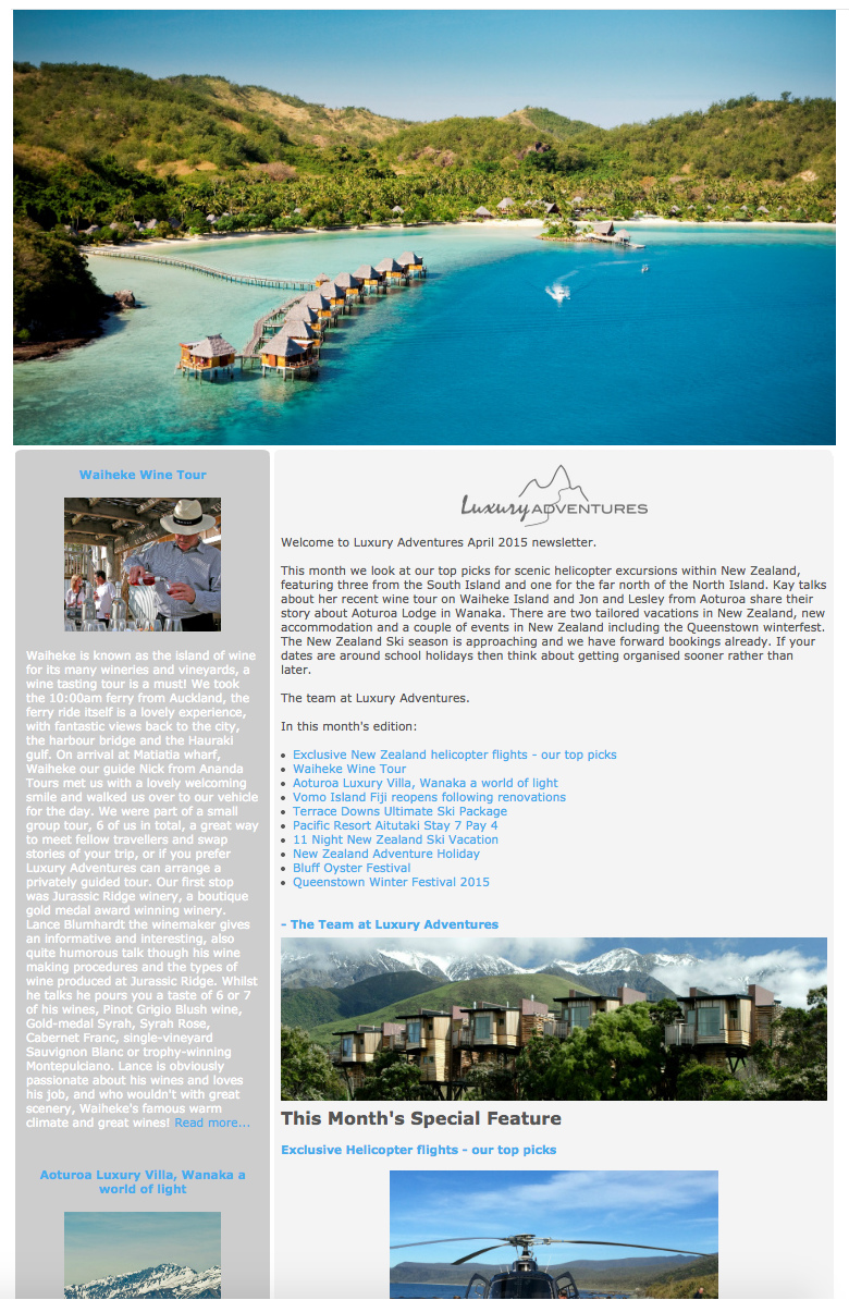 Luxury Adventures April 2015 newsletter