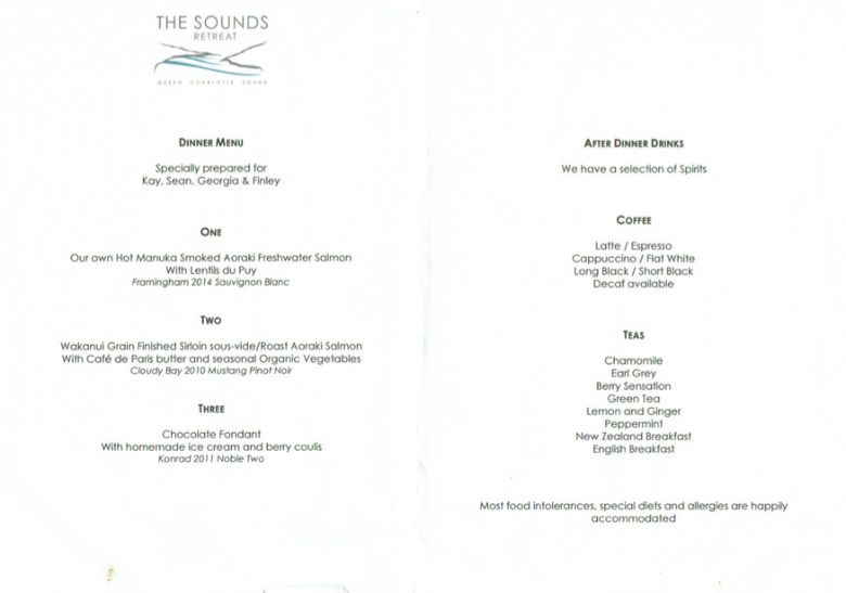 The Sounds Retreat Menu