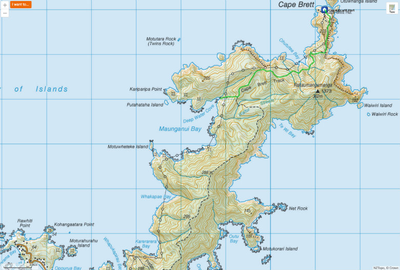 Topographical map of the Cape Brett Pensilar and track.