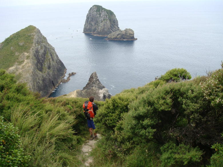 The author walking towards Cape Brett lighthouse