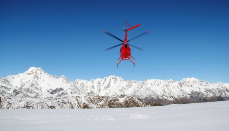 Helicopter on route to Mt Cook, National Park.