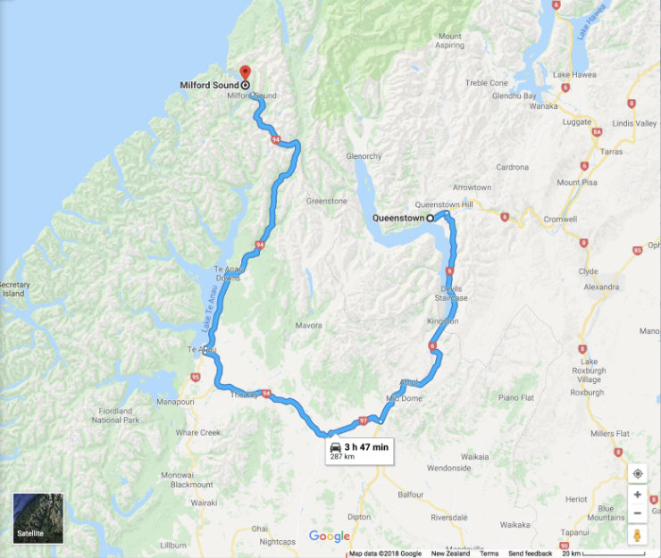 Queenstown to Milford Sound via vehicle