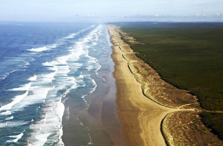The seemingly endless sands of 90 mile beach near Cape Reinga in Northland