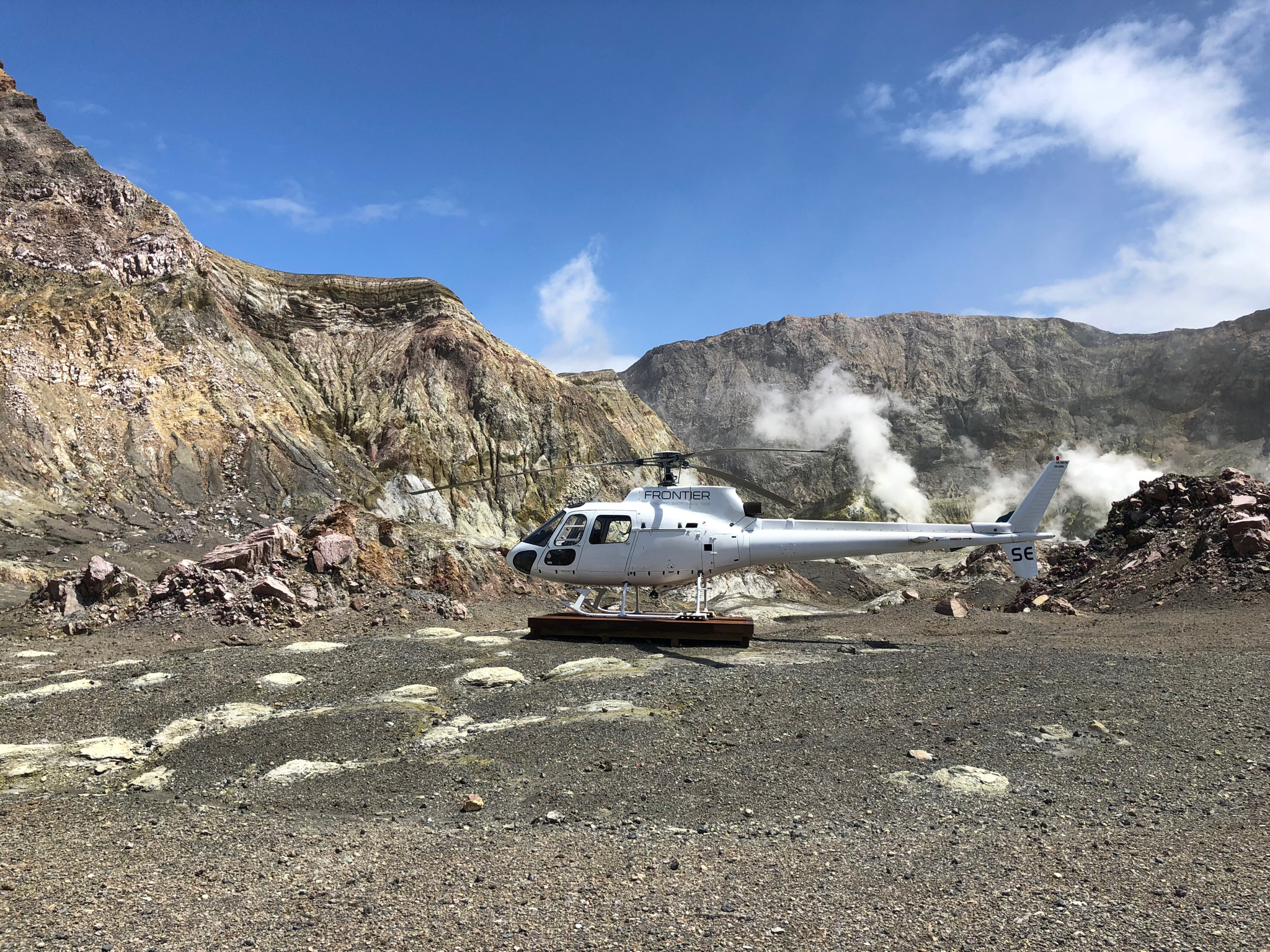 Landing upon a live volcano on their luxury New Zealand vacation! Location - White Island New Zealand
