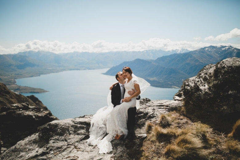 Photo of Sarah and Joseph during their New Zealand heli Wedding