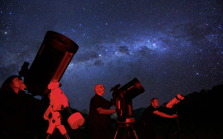 Viewing the black night sky at Dark Sky Project, Takapo (Lake Tekapo) in Canterbury