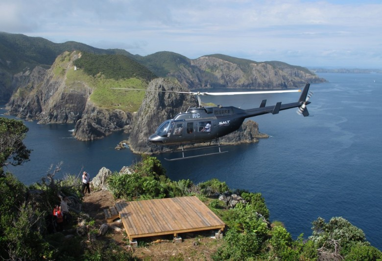 Landing atop Motukokako in the Bay of Islands or better known as Hole in the Rock