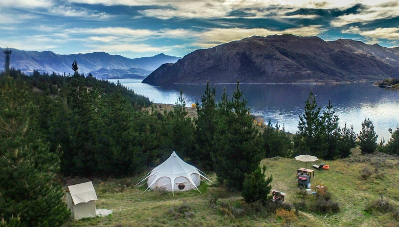 Glamping in style on the shores of Lake Wanaka, New Zealand.