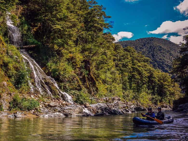 Kayaking past the falls on the Pelorus River
