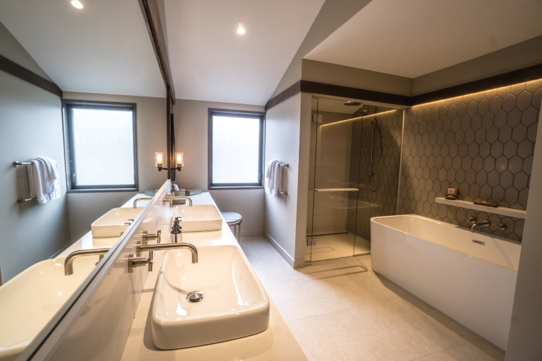 The newly completed bathrooms in each villa