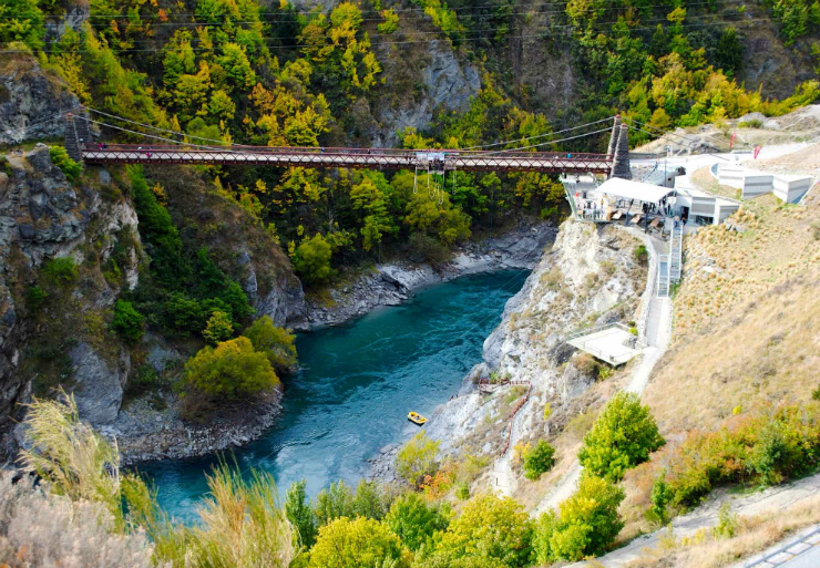 Bungy jumping at the Kawarau Bridge in Queenstown