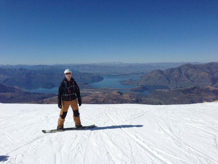 Luxury Adventures owner snowboarding at Treble Cone