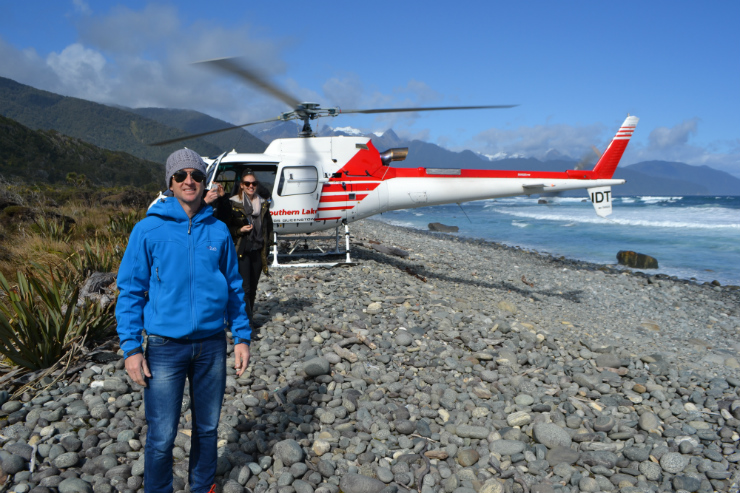 Luxury Adventures owner Tony Townley on a scenic helicopter flight