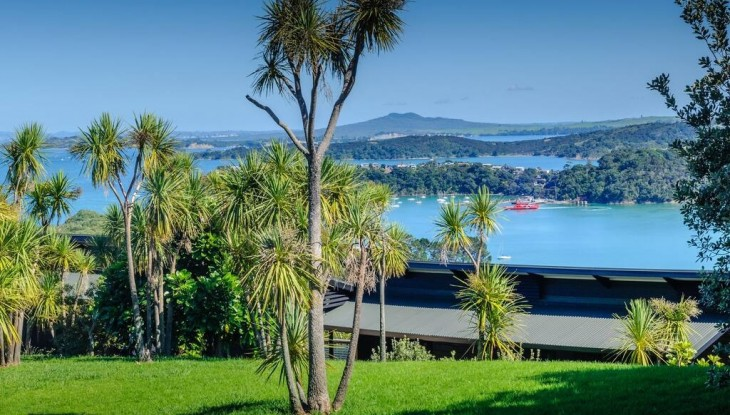 Te Whau Lodge view from lawn
