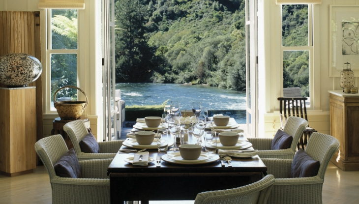 Huka Lodge Owners Cottage, dining