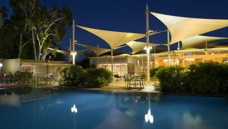 Sails in the Desert, pool at night