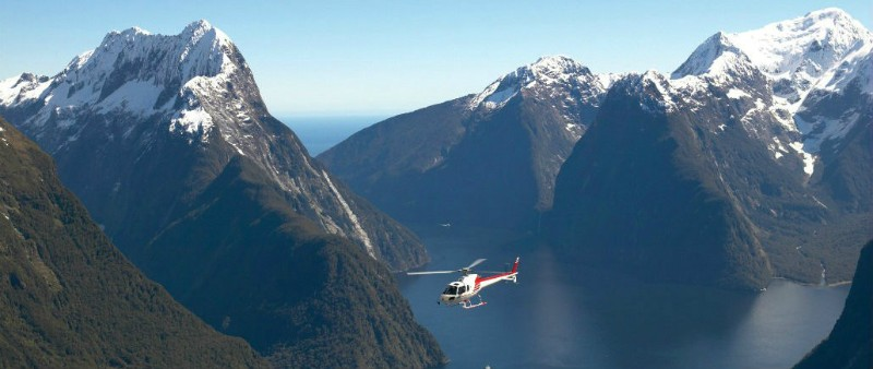 Helicopter Milford Sound, New Zealand